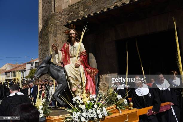 An effigy of a Christian icon know as 'La borriquilla' which represents the triumphal entry of Jesus into Jerusalem is carried by penitents during...