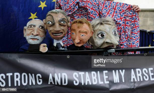 An effigy of British Prime Minister Theresa May and other politicals is seen before being used by antiBrexit protesters in a demonstration in London...