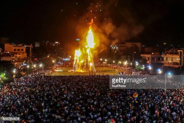 An effigy of demon king Ravana is set on fire during Dussehra festival celebrations in JaipurRajasthan India 30 September 2017 The effigies of Ravana...