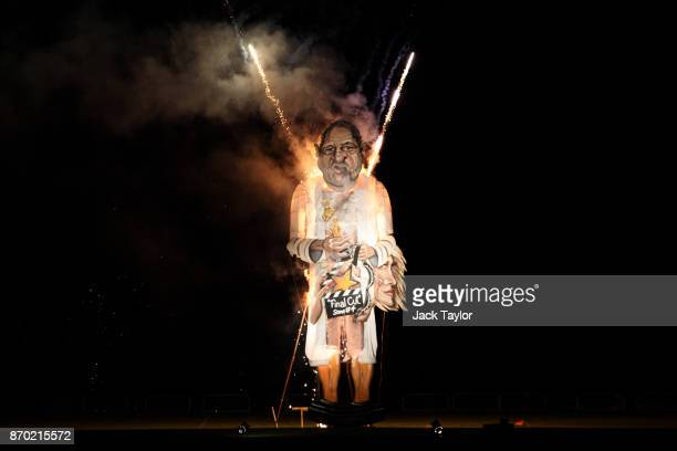 An effigy of film producer Harvey Weinstein is burned during a fireworks display at Edenbridge Bonfire Night on November 4 2017 in Edenbridge England...