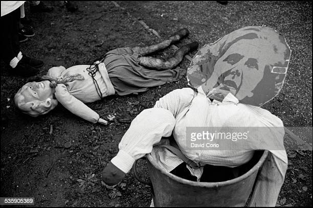 An effigy of Margaret Thatcher during a Poll Tax demonstration on Market Road, London, N7 , UK, 5th November 1989.