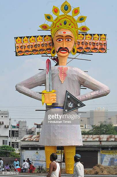 An effigy of Ravana erected at Vijay Nagar square during Dussehra celebrations on October 10 2016 in Inodre India The effigy of Ravana has been...