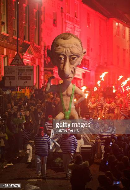 An effigy of Russian President Vladimir Putin is paraded through the streets of Lewes in Sussex, on November 5 during the traditional Bonfire Night...