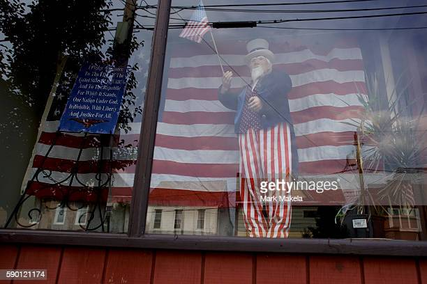 An effigy of Uncle Sam is displayed in a shop window on August 14 2016 in Frackville Pennsylvania The small Northeastern Pennsylvania coal mining...