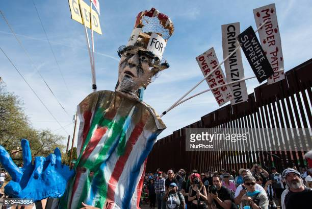An effigy of Uncle Sam is used during a puppet show illustrating immigration and border politics during a rally along the USMexico border in Nogales...