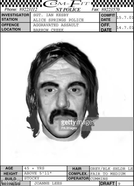 An efit composition from the Alice Springs Police made available of the gunman who ambushed two English tourists on a desert road in the Australian...