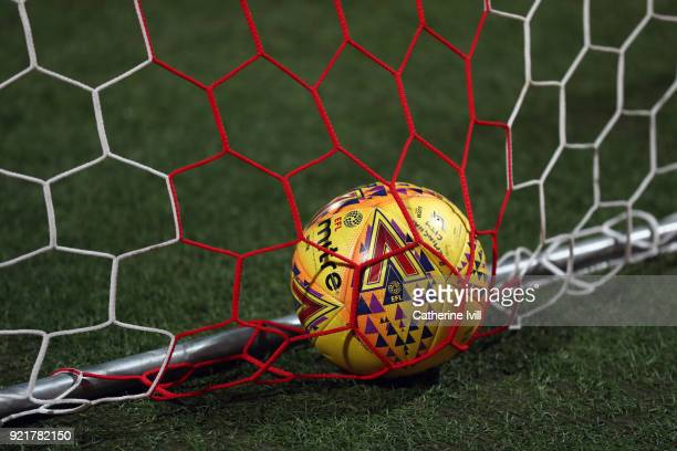 An EFL mitre match ball lies in the goal net during the Sky Bet Championship match between Brentford and Birmingham City at Griffin Park on February...