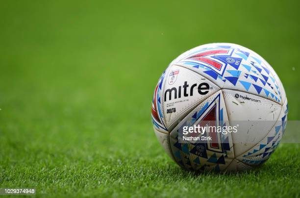 An EFL Sky Bet Mitre football before the Sky Bet League One match between Barnsley and Walsall at Oakwell Stadium on September 8, 2018 in Barnsley,...