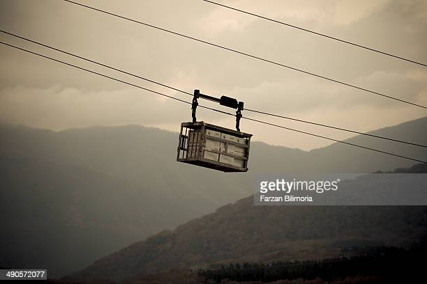 An egg carriage device in Hakone, outside Tokyo, to where the eggs will be turned black by sulphur from an active volcano before being sold to...