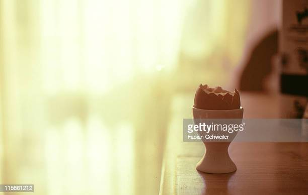 An egg on table in front of window
