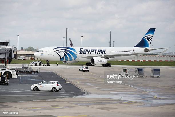 An EgyptAir Airlines passenger jet is towed on the tarmac before departure from Charles de Gaulle airport operated by Aeroports de Paris in Roissy...