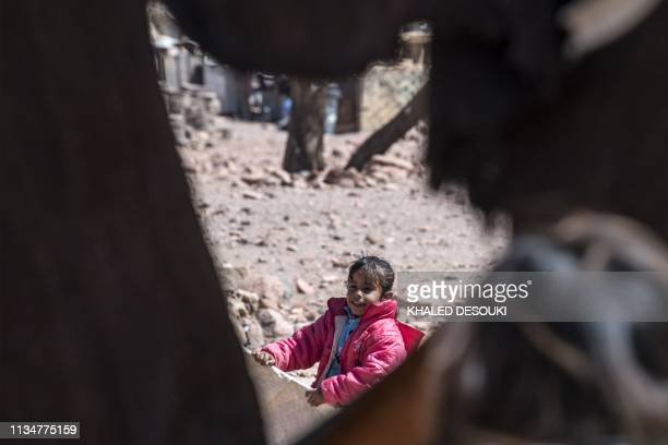An Egyptian Bedouin woman carries an infant in the village of alHamada in Wadi elSahu in South Sinai governorate on March 31 in the first Sinai Trail...