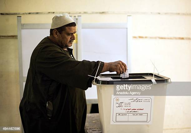 An Egyptian casts his vote during the runoff of the first round of the Egyptian parliamentary election in which only independent candidates run at a...