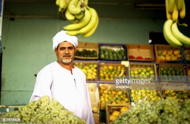 De verkoper van een Egyptische fruit