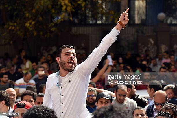 An Egyptian protester shouts slogans during a demonstration against a controversial deal to hand two islands in the Red Sea to Saudi Arabia on April...