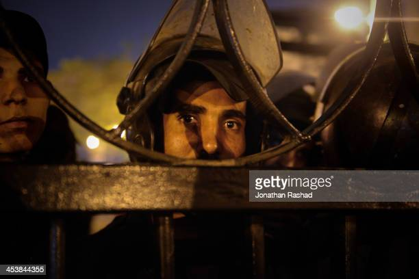 NOV An Egyptian riot police conscript stands outside the Shura Council Cairo Egypt during a stand against the new protest law which bans protests...