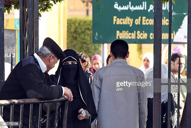 An Egyptian student wearing the niqab a veil which covers the face except for the eyes exits Cairo University during exam week on January 27 2010...