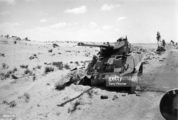 An Egyptian tank in the Sinai desert knocked out in an Israeli preemptive attack during the SixDay War