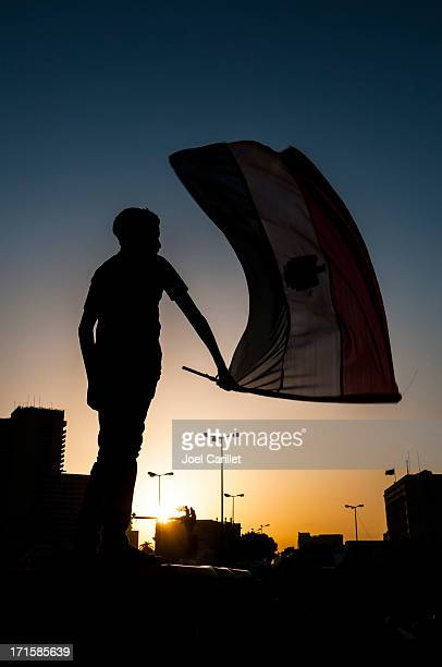 egyptian waving flag in tahrir square - tahrir square cairo stock pictures, royalty-free photos & images