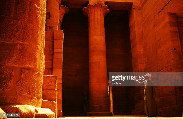 An Egyptian temple watcher is on display to visitors.