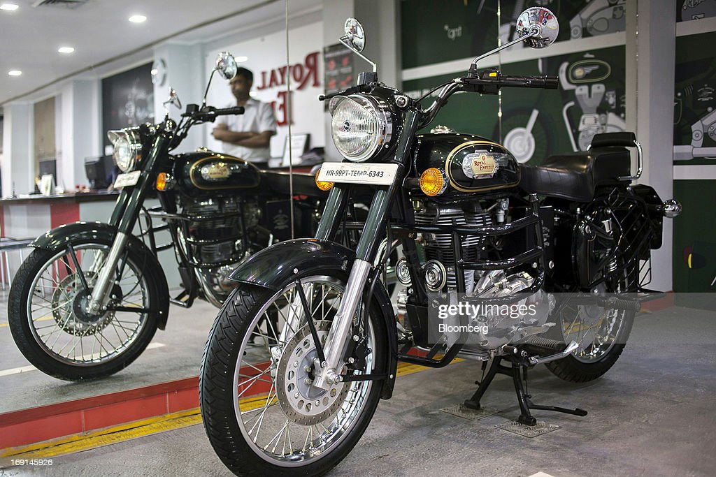 An Eicher Motors Ltd Royal Enfield Bullet 500 motorcycle stands on display at the company`s Royal Enfield flagship dealership in Gurgaon India on...