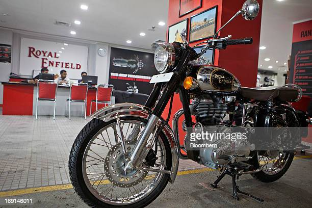 An Eicher Motors Ltd. Royal Enfield Classic Chrome motorcycle stands on display at the company's Royal Enfield flagship dealership in Gurgaon, India,...