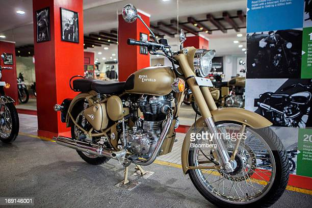 An Eicher Motors Ltd. Royal Enfield Desert Storm motorcycle stands on display at the company's Royal Enfield flagship dealership in Gurgaon, India,...