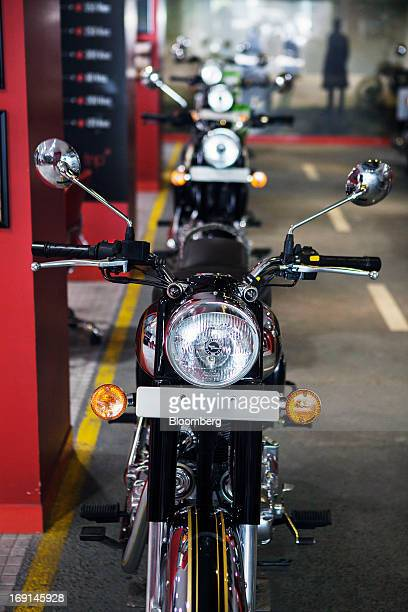 An Eicher Motors Ltd. Royal Enfield motorcycle stands on display at the company's Royal Enfield flagship dealershiip in Gurgaon, India, on May 20,...