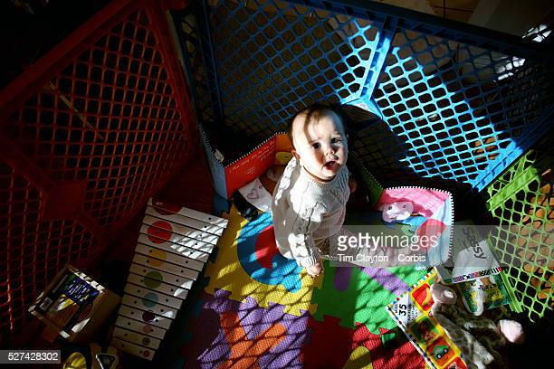 An eight month old baby girl at play in a play pen Photo Tim Clayton