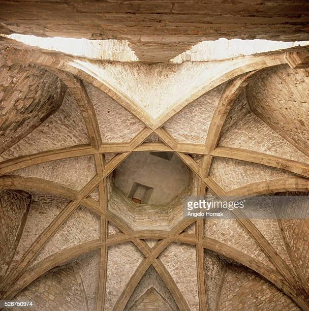 An eightpointed star designed by John Lewyn between 13661374 embellishes the ceiling of the monastic kitchen at Durham Cathedral