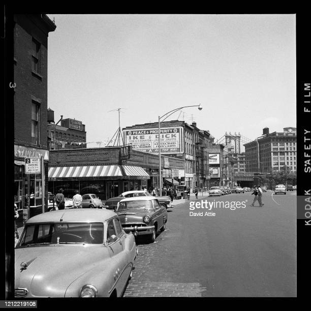 An EisenhowerNixon billboard at the corner of Cranberry and Fulton Streets in Brooklyn Heights in March 1958 in New York City New York