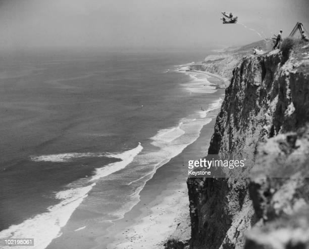 An ejector seat system for Vertical takeoff aircraft being tested by the US Navy on a cliff near Torrey Pines California 23rd July 1953 The system...
