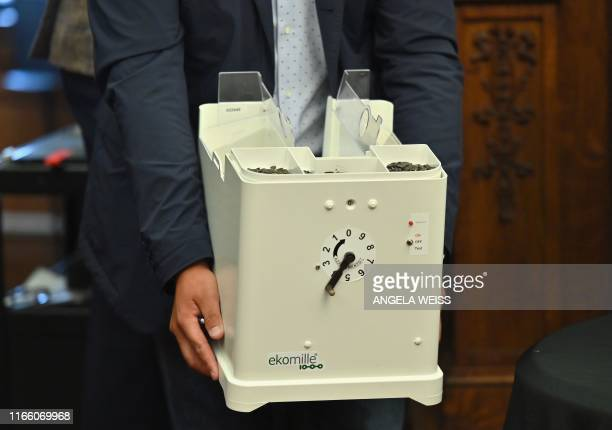 An 'Ekomille' rat trap is displayed as Brooklyn Borough President Eric L Adams announces the results of a pilot program aimed at curbing the rat...