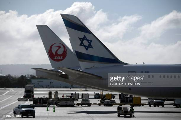An El Al Boeing Co. 787-9 Dreamliner and a Japan Air Lines aircraft stand on the tarmac at the Tom Bradley International Terminal at Los Angeles...
