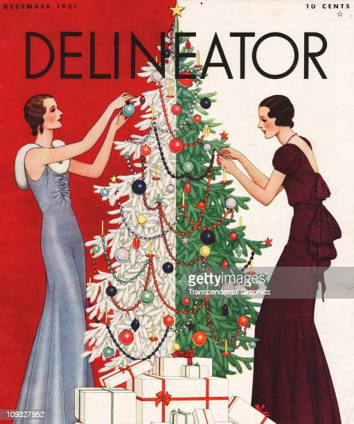 NEW YORK DECEMBER An elaborate Christmas cover on the Delineator magazine features a two sided tree being decorated by two fashionable women on the...