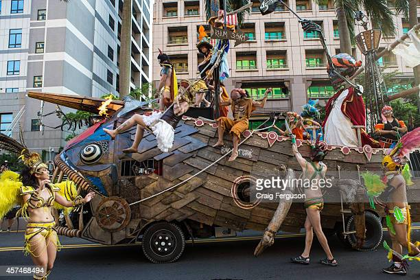 An elaborate float and performers at the Dream Parade The Dream Parade is an annual arts carnival and street parade that takes place in Taipei The...
