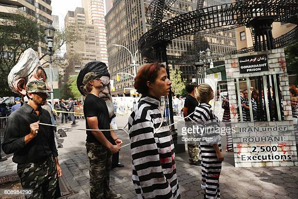 An elaborate play critical of Iran's human rights record is performed during a protest against the Iranian regime outside of the United Nations on...
