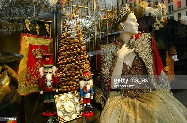 An elaborate tableau decorates a holiday window display at the Bergdorf Goodman department store December 2 2003 in New York City New York City...