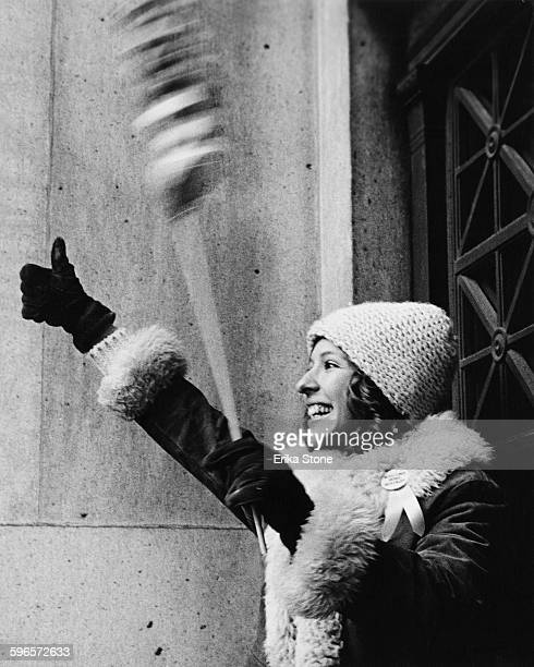 An elated young woman celebrates the return of hostages to New York City following the Iran hostage crisis 28th January 1981