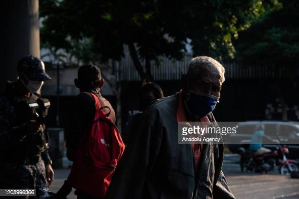 An elder man exits empty Chacao Subway Station as a preventive measure against the new type of coronavirus pandemic in Caracas Venezuela on April 02...