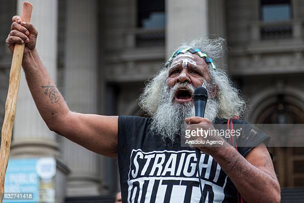 An elder protester speaks during a protest organized by Aboriginal rights activists on Australia Day in Melbourne Australia on January 26 2017...