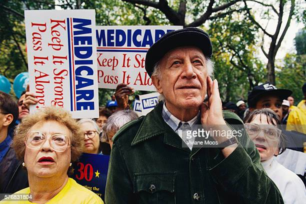 An elderly couple protesting cuts to Medicare at a health care march and rally sponsored by the Keep Patients First Save Our Health Care Coalition in...