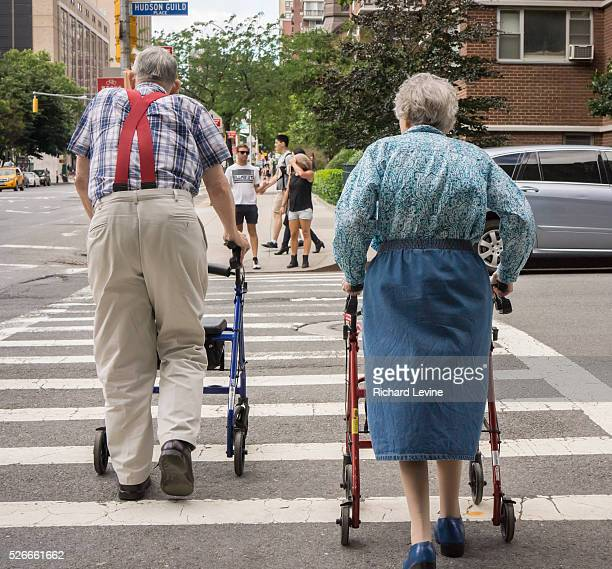 An elderly couple waits to crosses the street in the New York neighborhood of Chelsea on Saturday June 14 2014 Social Security considered a major...