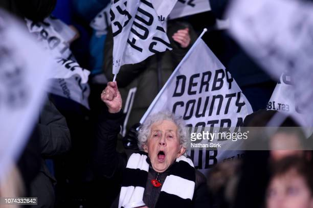An elderly Derby County fan shows her support during the Sky Bet Championship match between Derby County and Nottingham Forest at Pride Park Stadium...