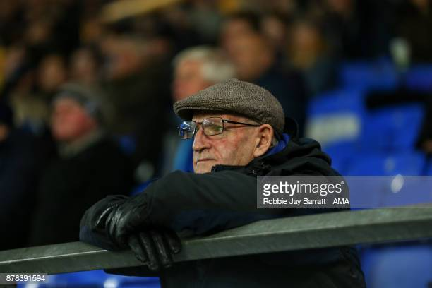 An elderly fan of Everton looks on during the UEFA Europa League group E match between Everton FC and Atalanta at Goodison Park on November 23 2017...