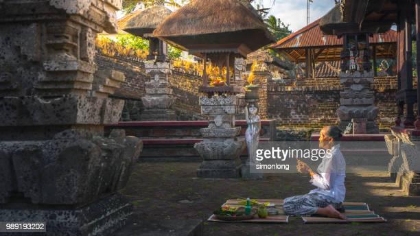 An Elderly Is Praying. Bali,Indonesia.