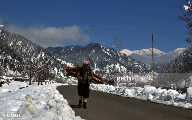 An elderly Kashmiri carries firewood on his shoulders with Surrounding snow Mountains near Daksum about 97 kilometers south of Srinagar city the...