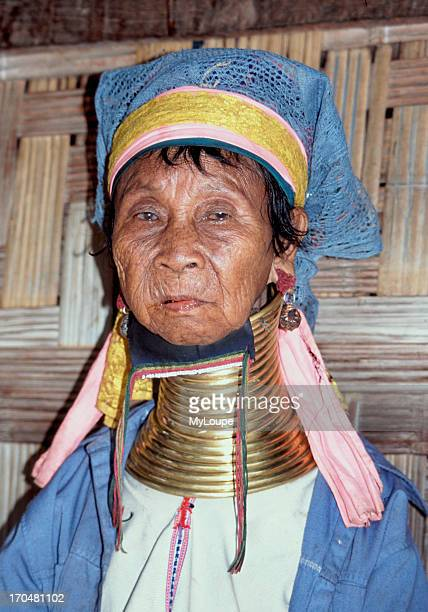 An elderly Longneck woman put brass rings around their necks in the belief it makes them more beautiful distorts the growth of the collarbone and...