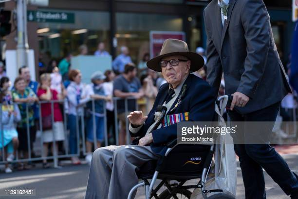 An elderly man is pictured during the ANZAC Day March on April 25 2019 in Sydney Australia Australians commemorating 104 years since the Australian...