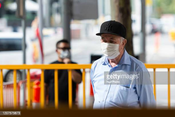 An elderly man is seen wearing a mask as a preventative measure as COVID19 continues to spread across Australia on March 18 2020 in Melbourne...
